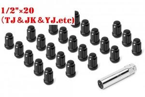 TJ・JK用 スプラインドライブホイールラグナットキット  / ブラック (1/2'×20)